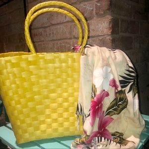 🔥HP🔥New! Bright Yellow Wicker Style Tote